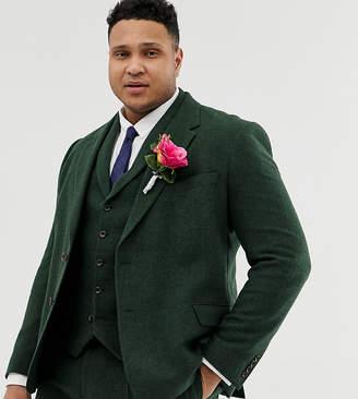 f37cf3717174aa Asos Design DESIGN Plus wedding slim suit jacket in green wool mix  herringbone