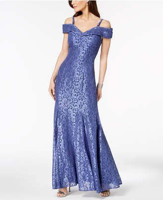 R & M Richards Off-The-Shoulder Lace Gown