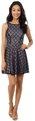 Gabriella Rocha Women's Sleeveless Diamond Lace Skater Dress