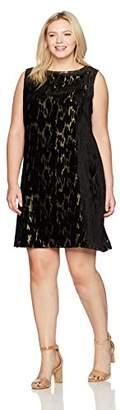 Tahari by Arthur S. Levine Women's Plus Size Slvless Metallic Velvet Burnout Dress, Black/Gold