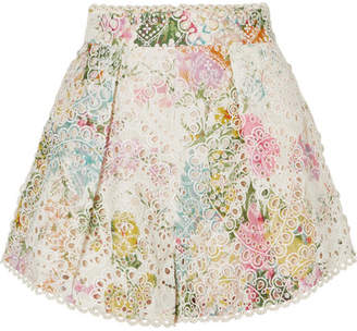 Zimmermann Heathers Floral-print Broderie Anglaise Cotton Shorts - White