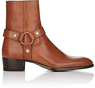 Saint Laurent Men's Wyatt Leather Harness Boots - Brown
