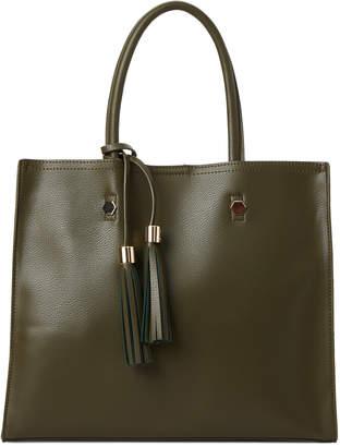 Imoshion Olive Tassel Faux Leather Satchel