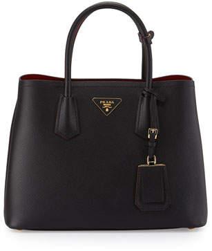 Prada Saffiano Cuir Double Medium Tote Bag, Black/Red (Nero+Fuoco)