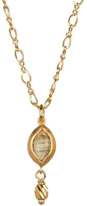 Chan Luu 18K Gold Plated Sterling Silver Labradorite Marquis Pendant Necklace
