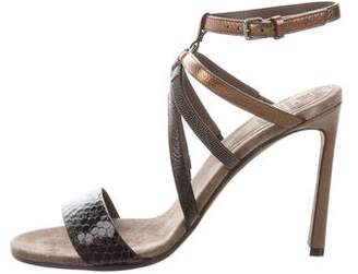 Brunello Cucinelli Embossed Ankle Strap Sandals w/ Tags