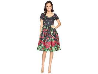 Unique Vintage Border Print Cotton Sleeved Fit Flare Dress Women's Dress