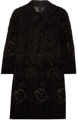 Anna Sui Rose Basket Devoré-velvet Mini Dress - Black