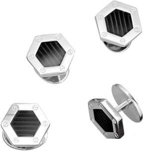 Jan Leslie Engine Turn Hexagon Tuxedo Studs