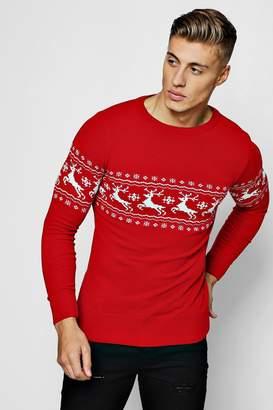 boohoo Muscle Fit Reindeer Fairisle Christmas Jumper