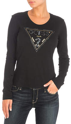 GUESS Embellished Triangle Cotton Tee