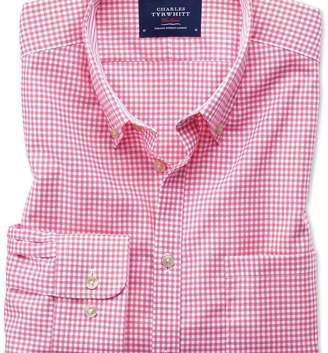 Charles Tyrwhitt Slim fit button-down non-iron Oxford gingham pink shirt