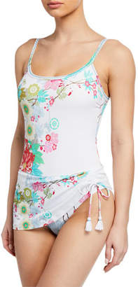 Johnny Was Kia Skirted Floral Tank One-Piece Swimsuit