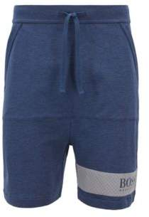 BOSS Loungewear shorts in French terry with printed mesh panel