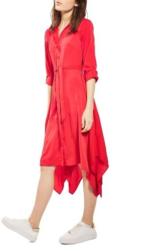 Women's Topshop Handkerchief Hem Midi Shirtdress