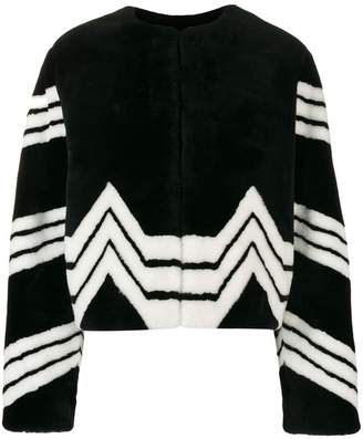 Givenchy chevron stripe faux fur jacket