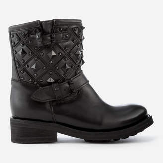 Ash Women's Trone Leather Studded Biker Boots