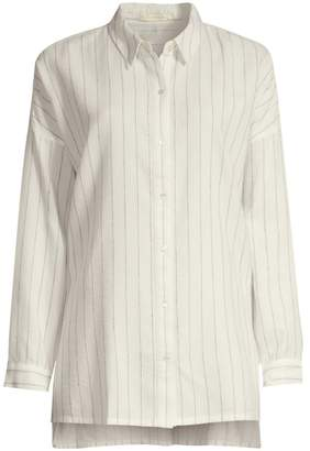 Eileen Fisher Classic-Collar Striped Boxy Shirt