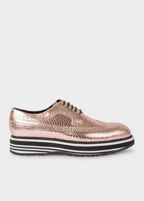 Paul Smith Women's Metallic Gold Leather 'Grand' Brogues With Striped Soles