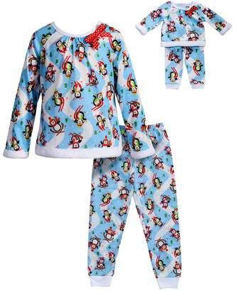 Dollie & Me Girls 4-14 Snowmen Raglan Top & Bottoms Pajama Set