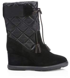 Aquatalia by Marvin K Women's Caliana Quilted Leather& Suede Wedge Booties - Black - Size 9