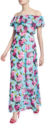 Betsey Johnson Drowning Roses Off-the-Shoulder Ruffle Maxi Dress