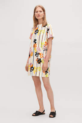 Cos FLORAL-PRINTED LINEN DRESS