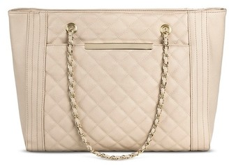 Mossimo Women's Quilted Tote with Chain Strap Faux Leather Handbag Blush - Mossimo $39.99 thestylecure.com