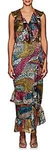 Saloni Women's Anita Ruffled Dot Devoré Dress