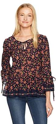 Max Studio MAXSTUDIO Women's Printed Crepe Long Blouse With Bell Sleeve and Ties