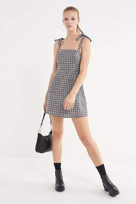 Urban Outfitters Plaid Tie-Shoulder Mini Dress