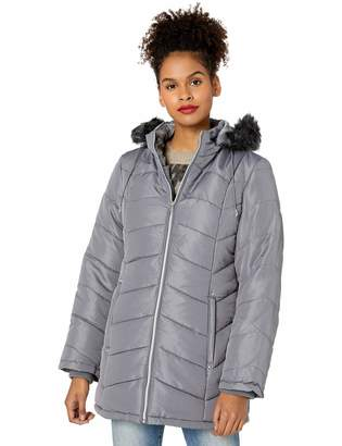 Intl D.E.T.A.I.L.S INTL d.e.t.a.i.l.s Women's Davie Thigh-Length Faux Fur Trimmed Winter Coat
