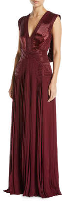 Zac Posen V-Neck Sleeveless Draped-Back Beaded Pleated Column Evening Gown