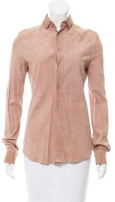 Ralph Lauren Purple Label Suede Button-Up Top