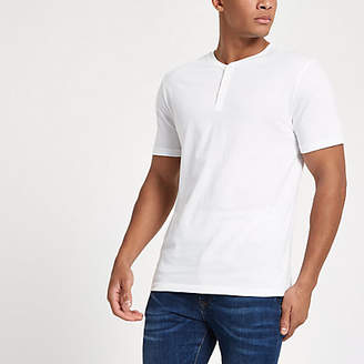 River Island White button front slim fit T-shirt