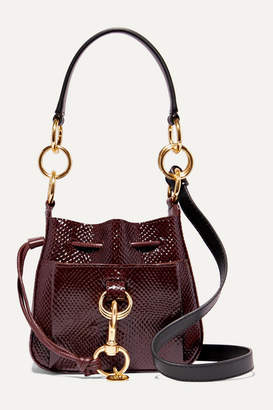 See by Chloe Tony Small Snake-effect Leather Bucket Bag - Burgundy