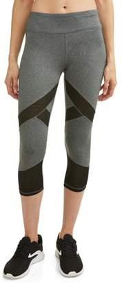 f953596ce485a N.Y.L. Sport Women's Active Mesh Insert Performance Capri Legging