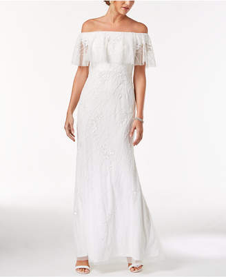 Adrianna Papell Beaded Off-The-Shoulder Popover Gown