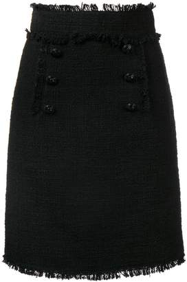 MSGM bouclé tweed frayed skirt
