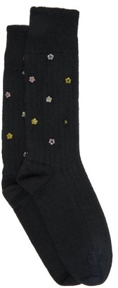 Cecilie Bahnsen - Bead Embellished Wool Blend Socks - Womens - Black Yellow