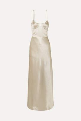 Galvan Phoebe Satin Bustier Gown - Platinum