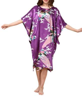 SexyTown Womens Batwing Sleeve Pullover Nightgown Satin Plus Size Pajamas d29ef42eb