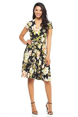 Maggy London Women's Printed Jersey fit and Flare with Pleated Skirt