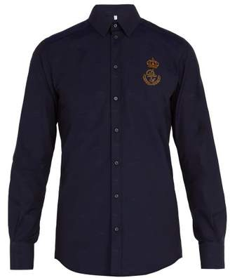 Dolce & Gabbana Logo Patch Cotton Shirt - Mens - Navy