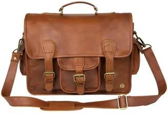 Mahi Leather Large Leather Harvard Satchel Messenger Bag In Vintage Brown