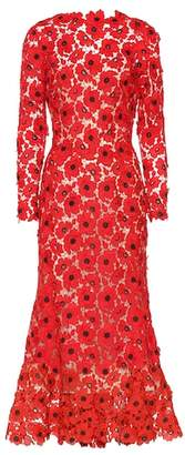 Oscar de la Renta Floral guipure lace dress