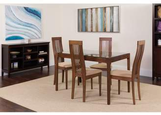 Flash Furniture Imperial 5 Piece Walnut Wood Dining Table Set with Glass Top and Framed Rail Back Design Wood Dining Chairs - Padded Seats