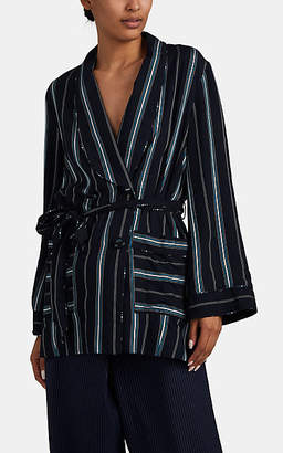 Erdem Women's Stanford Striped Double-Breasted Jacket - Blue Pat.