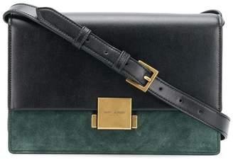 Saint Laurent black and green Bellechasse large leather shoulder bag