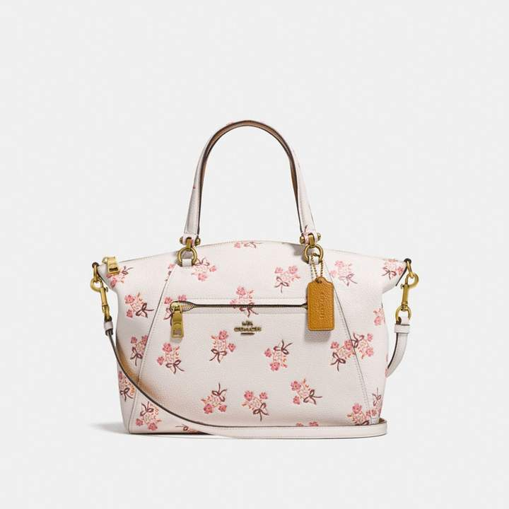 Coach Prairie Satchel With Floral Bow Print - CHALK/BRASS - STYLE